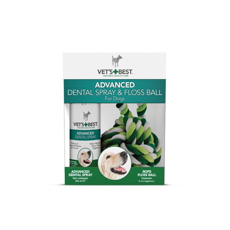 Vet's Best - spray + sznurkowa kula do higieny jamy ustnej