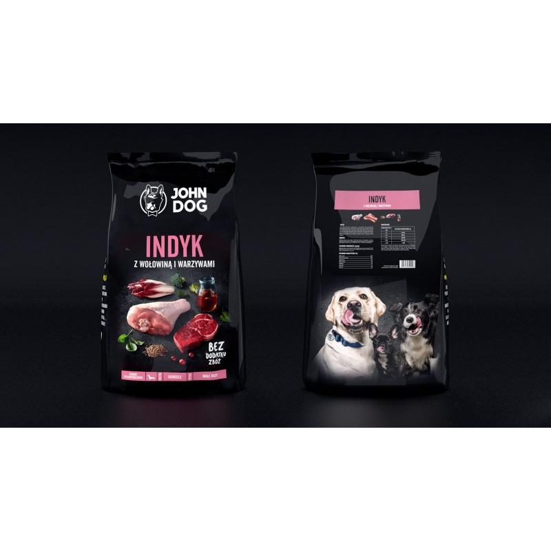 John Dog Indyk z wołowiną i warzywami - Karma sucha dla psów małych ras
