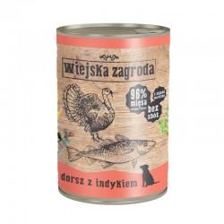 Wiejska Zagroda Dorsz z indykiem 12 x 400 g - karma mokra dla psa