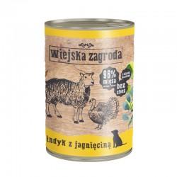 Wiejska Zagroda Indyk z jagnięciną 12 x 400 g - karma mokra dla psa