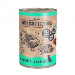 Wiejska Zagroda Królik z indykiem 12 x 400 g - karma mokra dla psa