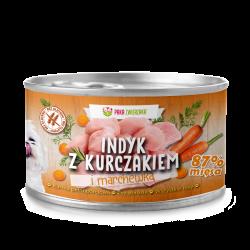 Paka Zwierzaka Indyk z kurczakiem i marchewką - mokra karma dla psa
