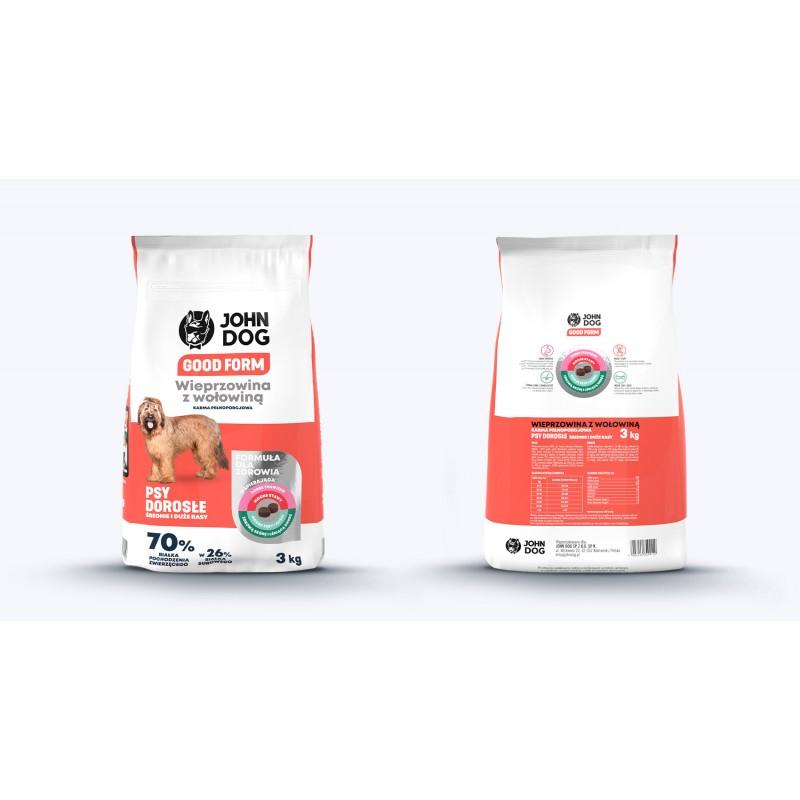 John Dog Good Form Wieprzowina z wołowiną i ryżem - karma sucha dla psów ras śrenich i dużych